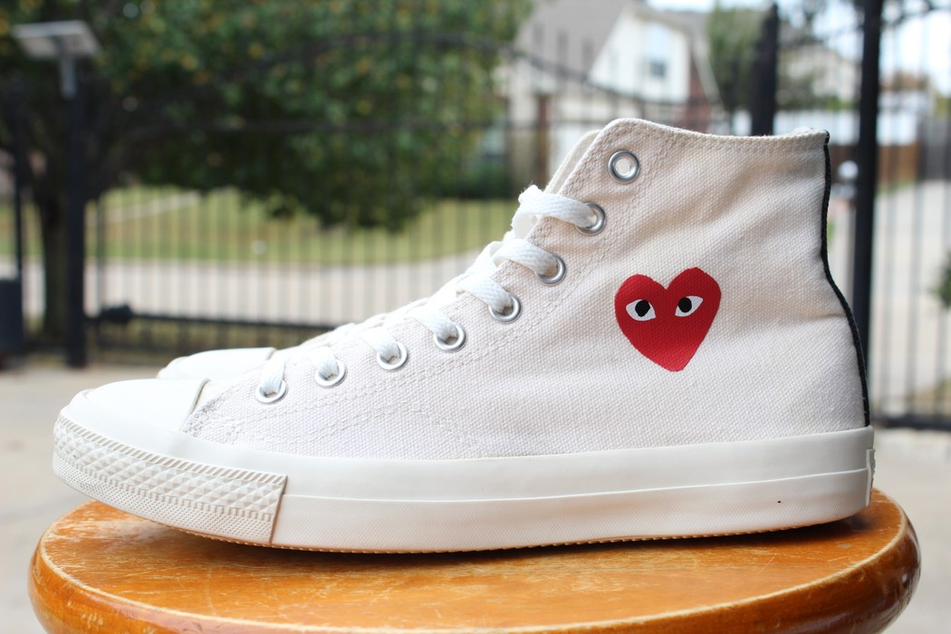 d913b85fdaf8 Converse CDG High Tops Cream White Little Heart OG 1.0 Chuck Taylor Size US  8