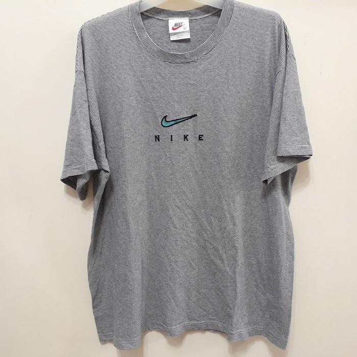 1af930bf9 Nike Vintage 90s NIKE Striped T Shirt Swoosh Logo Embroidered Made in USA  Air Jordan Force