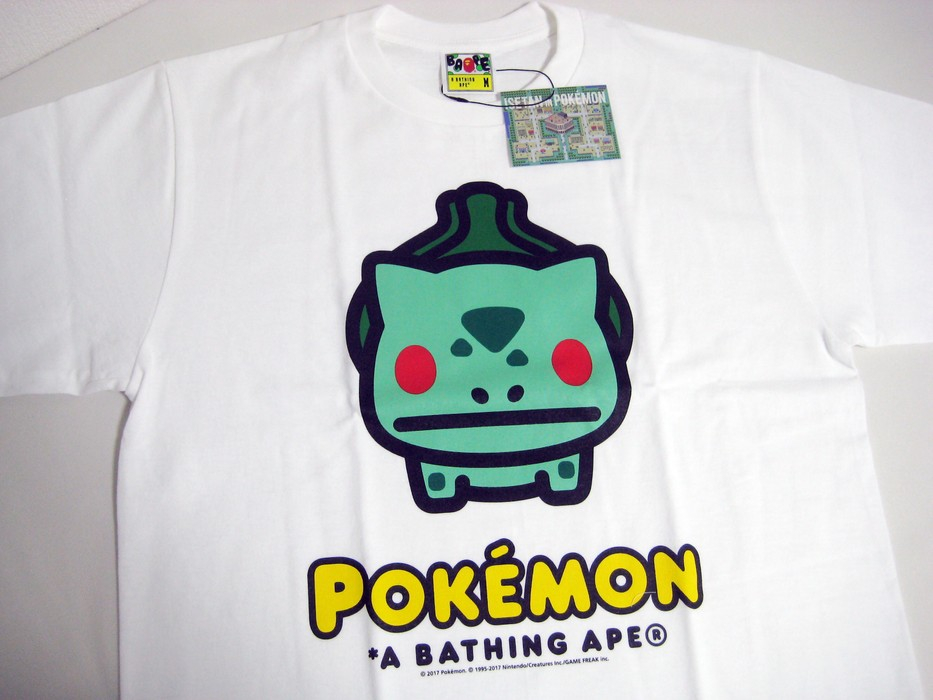26c51a4d Bape A BATHING APE BAPE Pokemon Isetan limited TEE Bulbasaur white M new  Fushigidane Size US