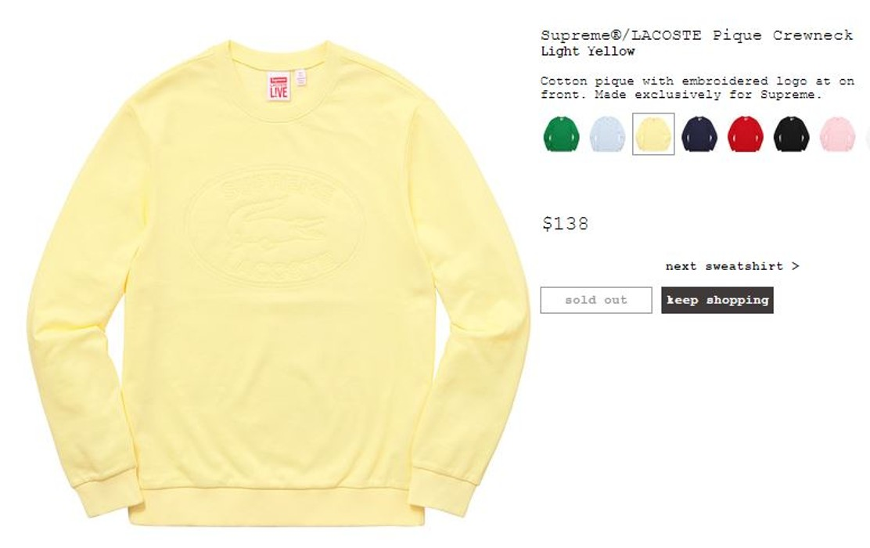 784618354 Supreme Pique Crewneck Sweater Light Yellow XL Supreme Lacoste Size US XL    EU 56