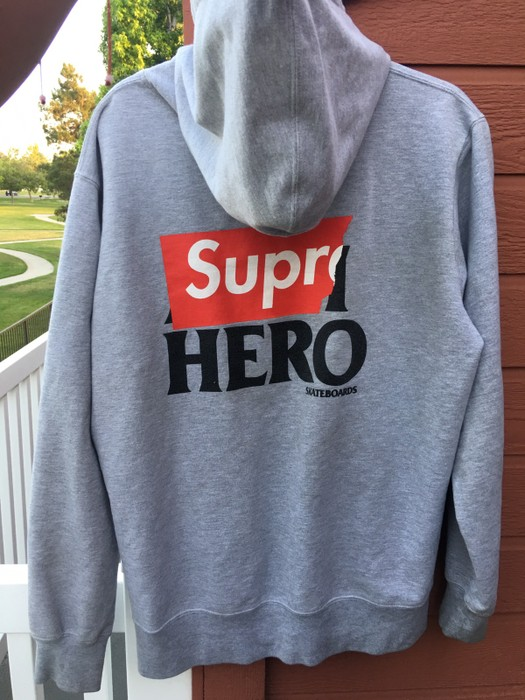fe8b95a0728a Supreme SS14 Supreme x Anti- Hero Zip- Up Hoodie (Grey) Size xl ...