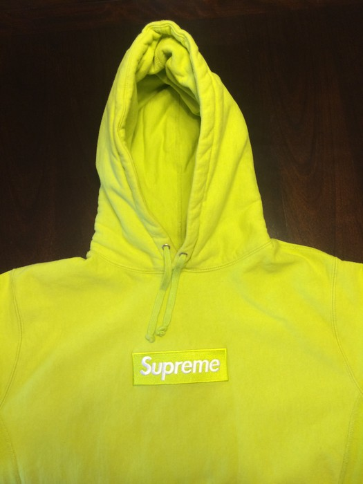6c15580845d8 Supreme Acid green box logo hoodie Size l - for Sale - Grailed