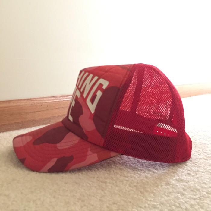 02da33ecac6 Bape Bape Red Camo Trucker Hat Size one size - Hats for Sale - Grailed
