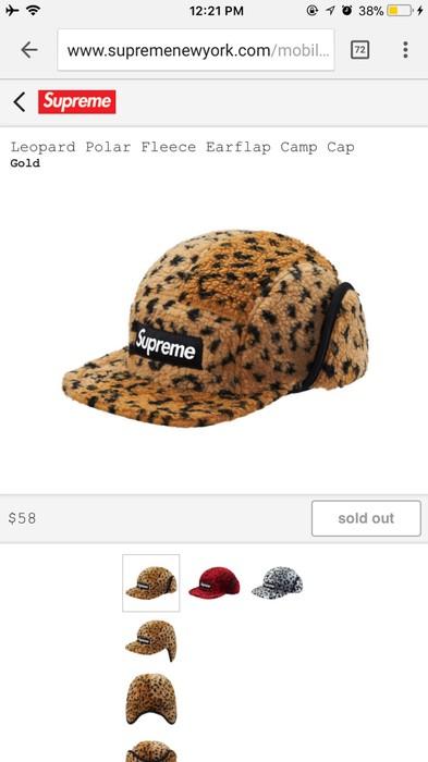 2dcb5768591 Supreme Leopard Polar Fleece Earflap Camp Cap Size one size - Hats ...