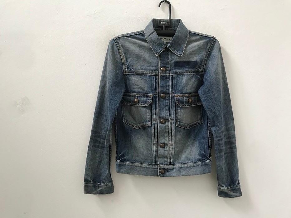 c03937d80e Vanquish Japanese Designer VANQUISH Tokyo Made in Japan Stone Wash Riveted  Denim Jacket Size US S