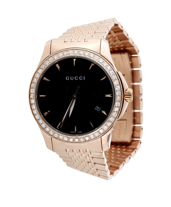 c015002a06f Gucci Gucci YA126402 Diamond Watch Black Dial 38mm Stainless Steel Rose PVD  1.75 Ct. Size