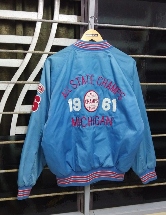 ce53d282fad Vintage Vintage ALL STATE CHAMPS MICHIGAN 1961 Embroidery Big Logo All  Single Stitch Nice Not Chanel Supreme ...