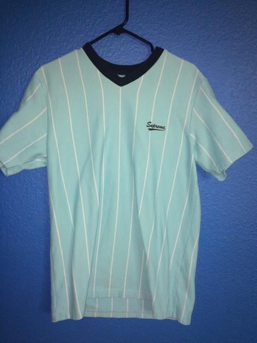 06eb11368860a7 Supreme. Supreme Pinstripe Soccer Jersey Light Blue. Size  US L   EU 52-54    3