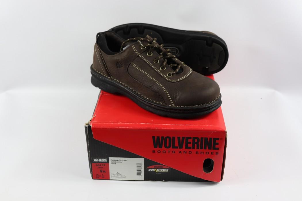 70f289226fc0 Wolverine New Wolverine Mens 9 M Durashocks Leather Tyson Oxford Work Shoes  Brown Size US 9