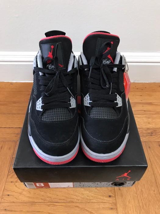 dfeaf12553a6 Jordan Brand Nike Air Jordan IV 4 Black Red Bred Cement Size 8 - Low ...
