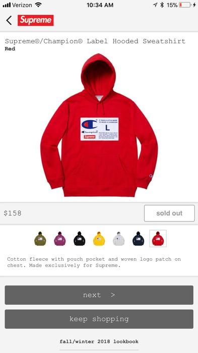 6bb46eb80286 Supreme Supreme X Champion Label Hooded Sweatshirt Size US M   EU 48-50