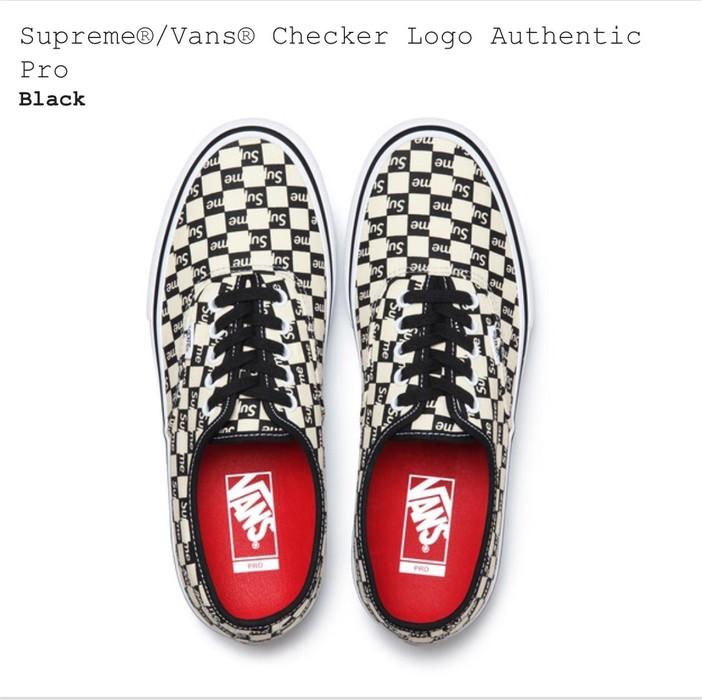 14b566c1d4 Supreme Supreme Vans Checker Logo Authentic Pro Black Size US 12   EU 45 - 2