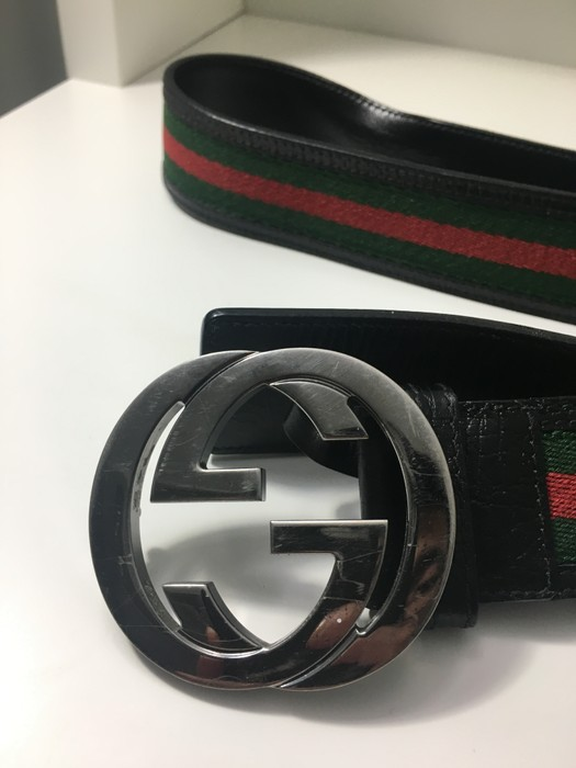 516be5285d5 Gucci. Guccissima leather belt with interlocking G buckle Black Red Green