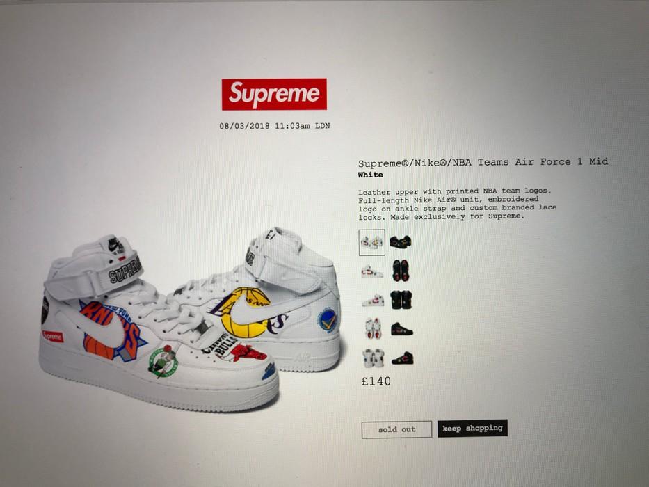 8115ee217346 Supreme Supreme X Nike X NBA Air Force 1 Mid White Size 10 - Hi-Top ...