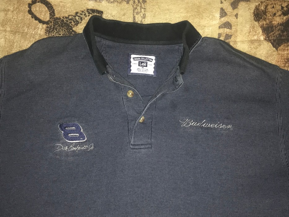 e08c022985a Vintage 90s Vtg LEE JEANS x DALE EARNHARDT x BUDWEISER Embroidered Polo  T-Shirt Size