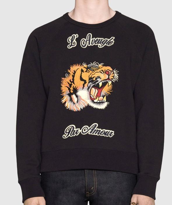 202616907cd Gucci Gucci L Aveugle Par Amour black tiger sweatshirt XL Size l ...