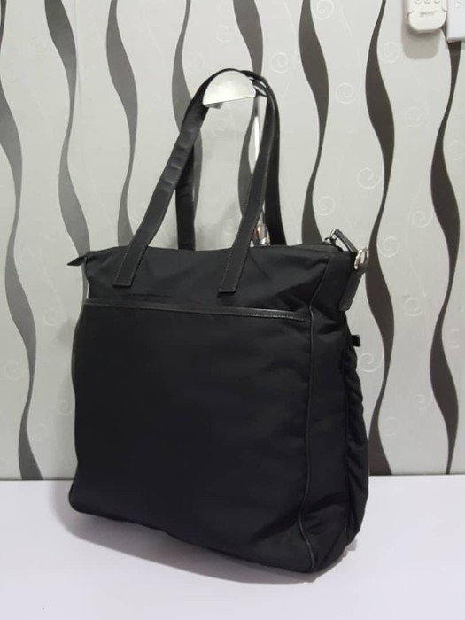 20d1598262 Prada Authentic Prada Nylon Black Large Tote Bag   Prada Bag   Vintage Prada  Bag Size