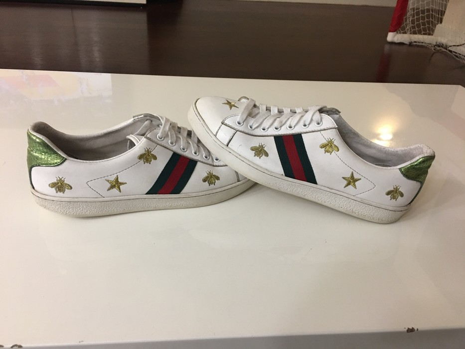 66aeefbee57 Gucci. RARE Gucci Bee And Star Gold Green White Embroidered Ace Aces Shoes  ...