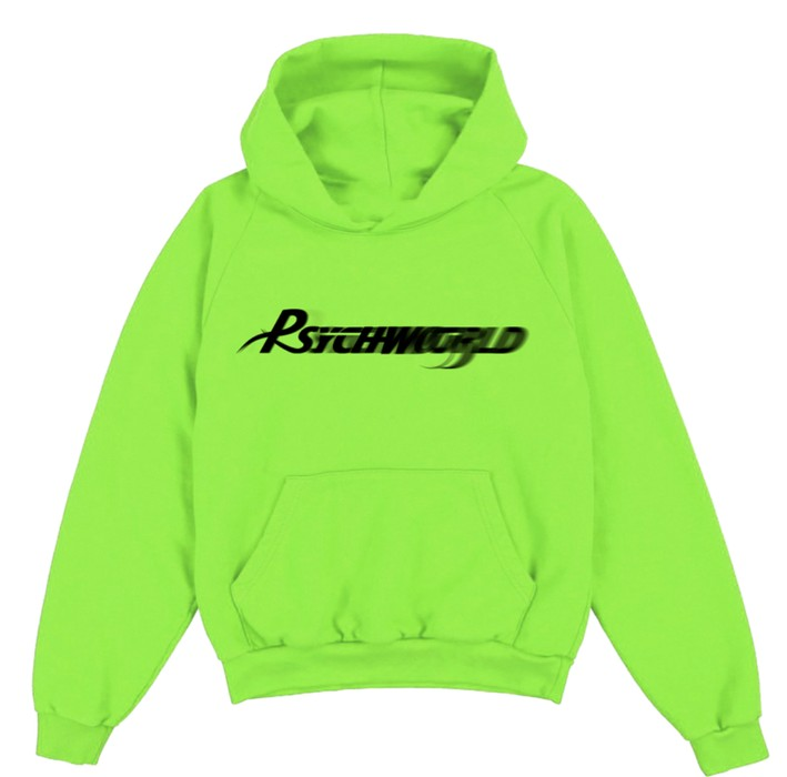294a8c3694af Psychworld 🧠 PSYCHWORLD 🌎 Reverse Motion Logo Hoodie in Neon Green    Black - NEW Size