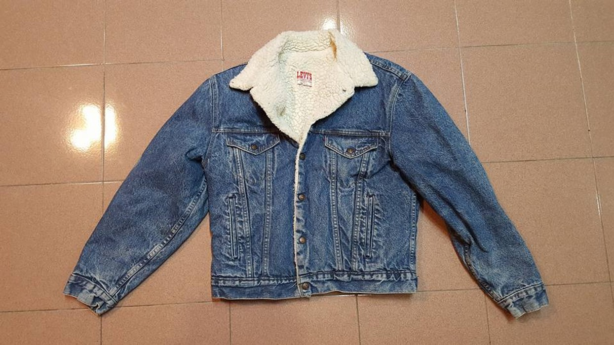 12719eac605 Levi s Vintage Clothing LEVIS Sherpa Denim Jeans Jacket Winter Cold Weather  Made In USA Size 40R