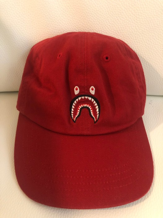 93bd843a70df4 Bape Bape Red shark dad hat wgm a bathing ape NWT Size one size ...