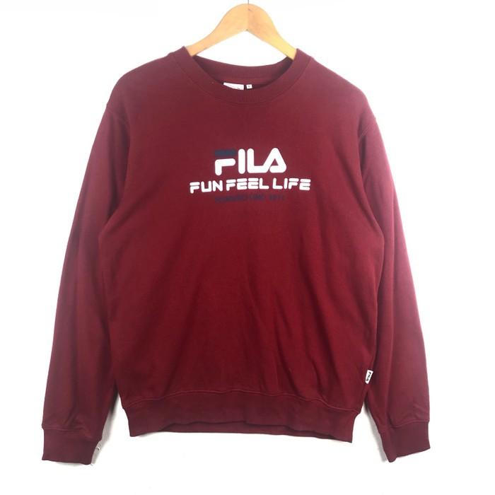 24aaa6488148 Fila Rare! Fila Sweatshirt Big Logo Spell Out Pull Over Jumper Size ...