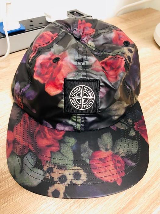 58bcafaf47a Supreme Supreme X Stone Island Rose Flower Black Camp Hat Cap Size ONE SIZE