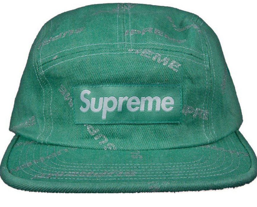 93b280666c50 Supreme Supreme Denim All Over Logo 5 Panel Print Camp Hat Cap in Mint    Green
