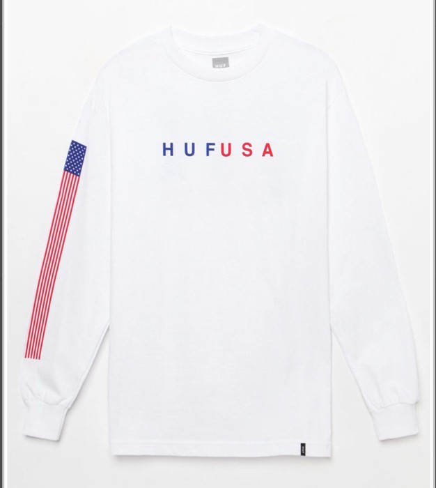 038ea0d2500 Huf Huf USA Long Sleeves T-Shirt America Flag On The Right Arm Size ...