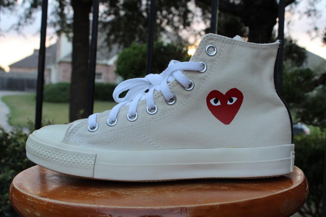 0cd24aff2caa Converse CDG High Tops Cream White Little Heart OG 1.0 Chuck Taylor Size US  7