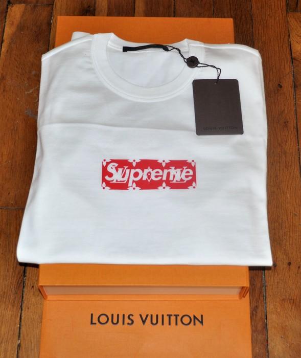 b32976841936 Supreme Louis Vuitton X Supreme Tee Box Logo BOGO White Red Monogram XS  Size US XS