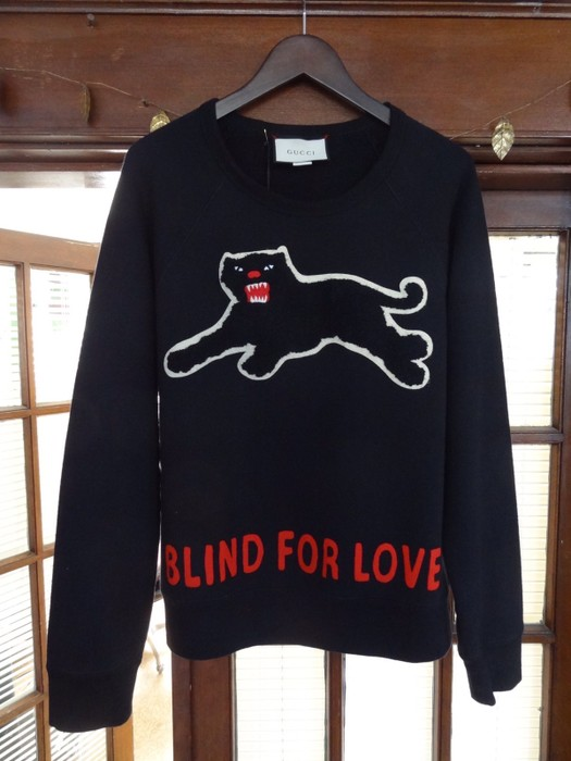 ba6eb1c11d4 Gucci Blind For Love Panther Patch Sweatshirt Size l - Sweatshirts ...