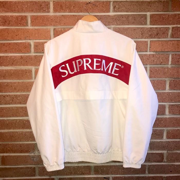 2b9ddc72dd5a Supreme Supreme Arc Track Jacket Windbreaker White And Red Size US M   EU  48-