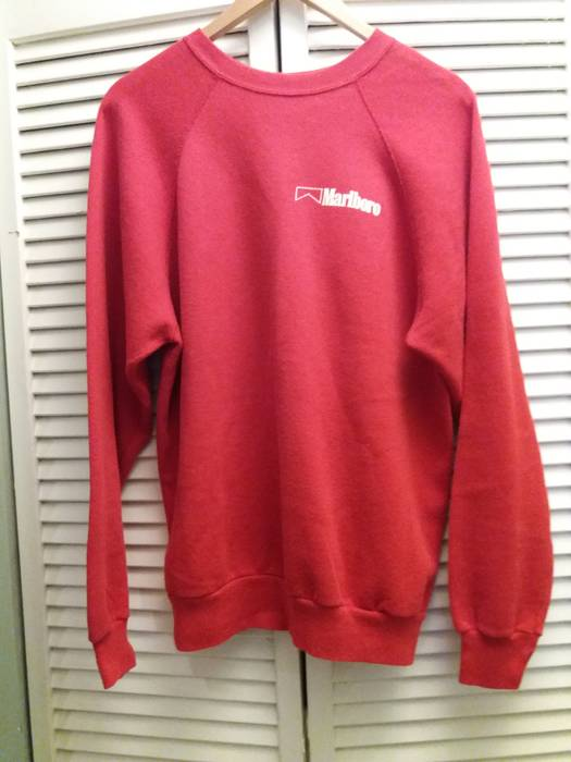 ea0ae10a09a Vintage 90s Tultex Marlboro Cigarettes Red Pullover Crewneck Sweater Fits  Like Size L Large Size US