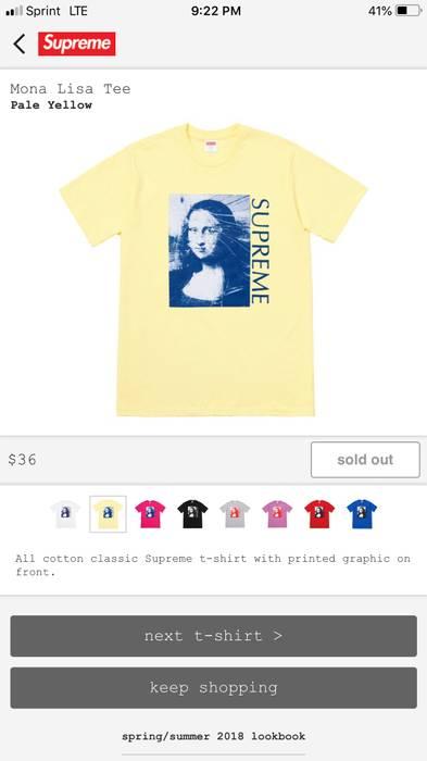 abe057968bd7 Supreme Mona Lisa Tee Pale Yellow Size xl - Short Sleeve T-Shirts ...