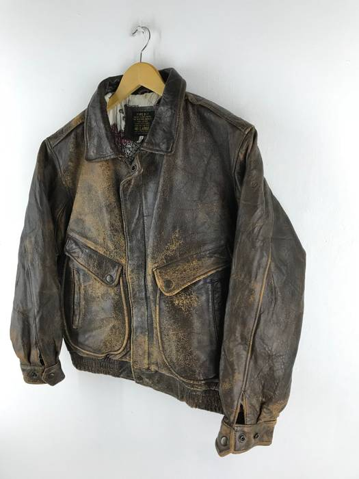 Military TYPE B - 7 JACKET FLYERS WINTER FIRE RESISTANT BROWN G1 REAL  LEATHER. US 96e38216f1a