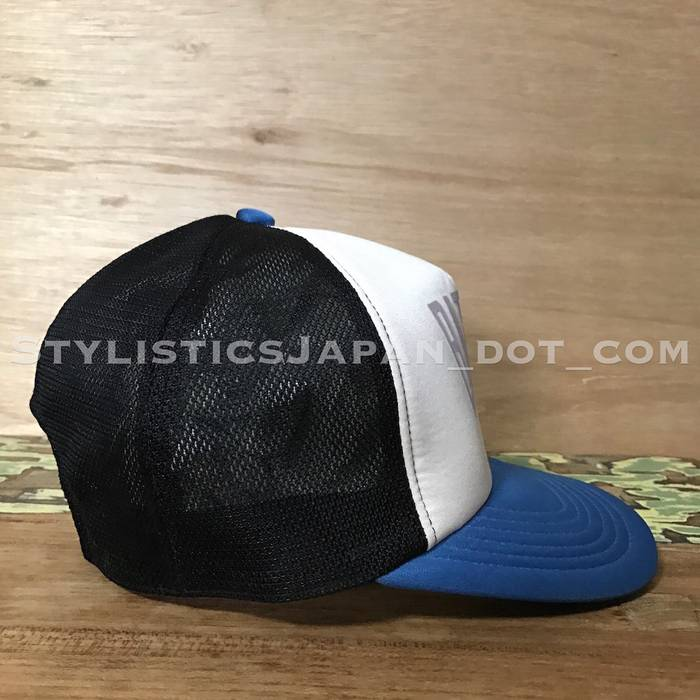 87368071eaa8 Bape A BATHING APE BAPE NEW YORK LOGO MESH CAP BLUE BLACK Size ONE SIZE