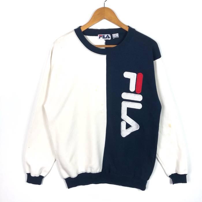 18d372e85136 Fila Rare! Fila Sweatshirt Big Logo Spell Out Colour Block Size US M   EU