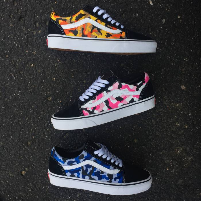 95298b5fd0a613 Vans Custom ORANGE (Rothco Bape) Inspired Vans Size 12 - Low-Top ...
