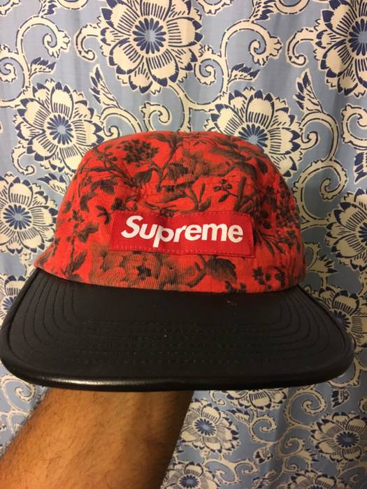 4ce5ca6dd89 Supreme Supreme 5 Panel - Liberty Pineal Cord Leather Camp Cap Red Floral  Size ONE SIZE
