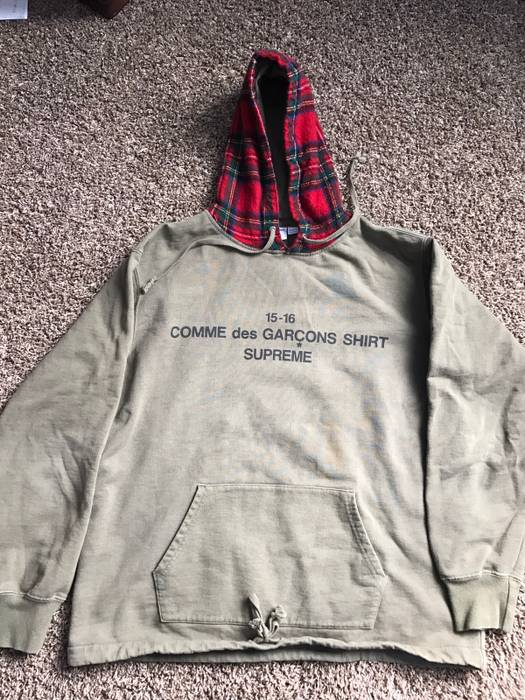 53a467822bfa Supreme Supreme X CDG Olive Hoodie FW15 Size l - Sweatshirts ...