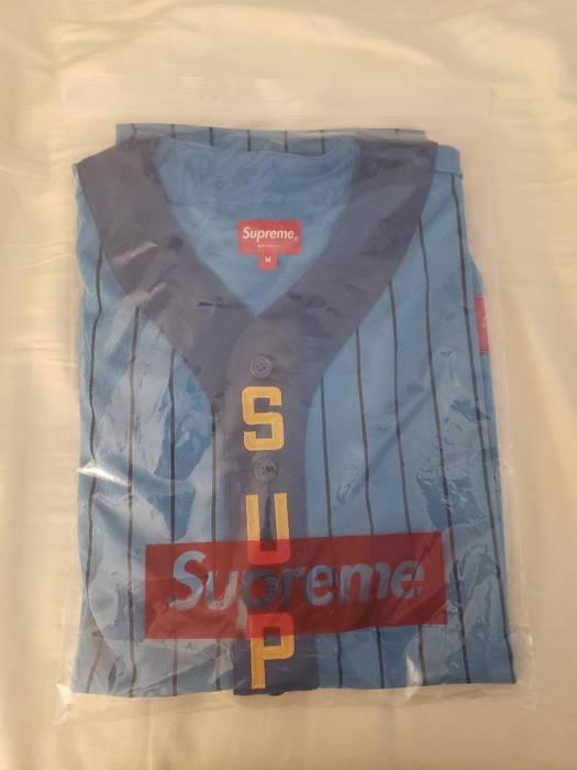 5e5d463cce5 Supreme Supreme Vertical Logo Baseball Jersey Blue Yellow Size US M   EU 48-