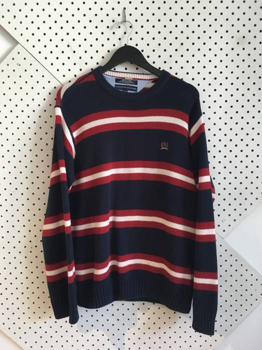 4032c2f964499 Vintage vintage tommy hilfiger striped sweater 90s navy blue red white  sweater medium Size US M