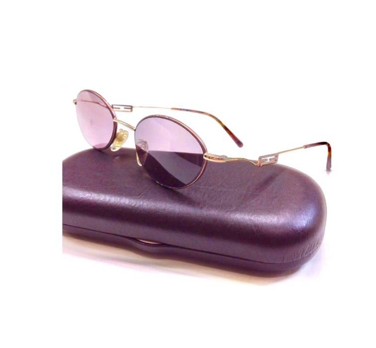 fd53eda125f5 Fendi RARE Vintage 90s FENDI FF Gold Oval Tortoise Round Eyeglasses Frames  Purple Lenses Size ONE