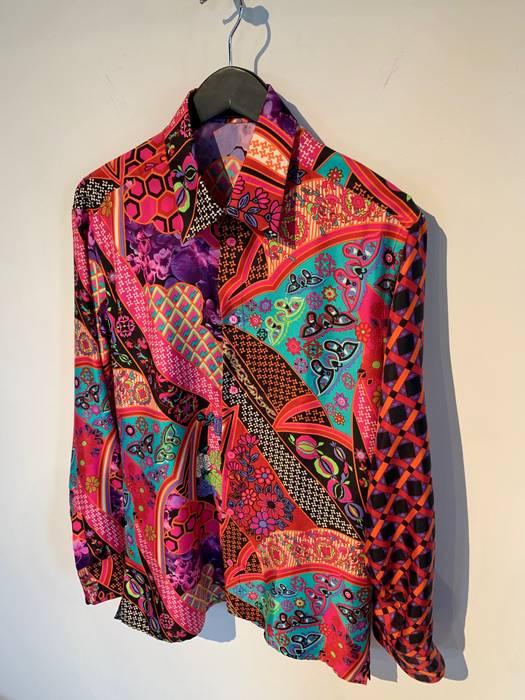 Versace Versace Fuschia Silk Flowers And Butterflies Print Shirt