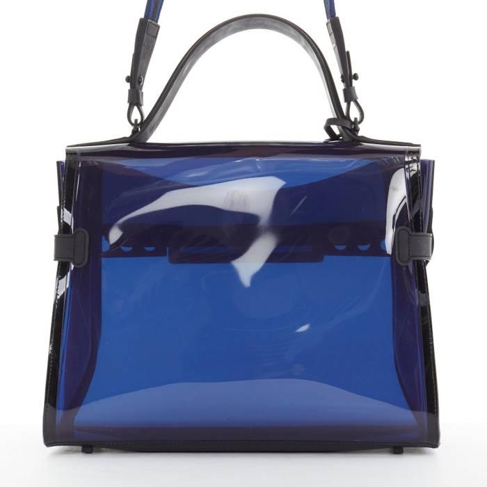 d24f9b0de2 Delvaux limited DELVAUX Dark Night Tempete navy blue PVC top handle shoulder  kelly bag Size ONE