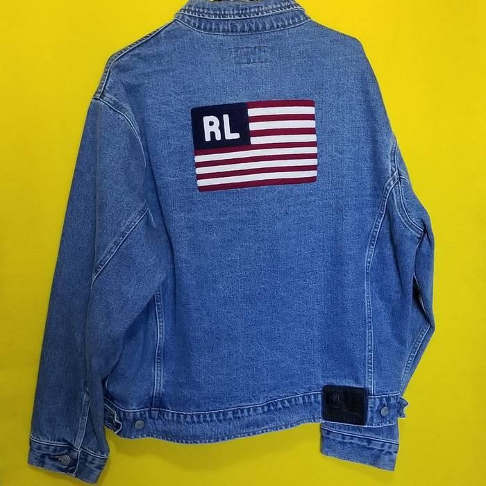 63b1e38292e Polo Ralph Lauren × Vintage. Vintage Polo Jeans Co. Ralph Lauren Jean Jacket  W  Big Flag on Back. Size  US XL   EU ...