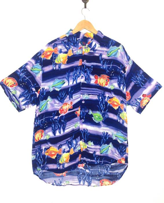 b3c8f8eb7beb1 Jams World VINTAGE 80S JAMS WORLD HAWAIIAN BUTTON UP SHIRT WITH MULTICOLOUR  FISH MOTIVE MADE IN
