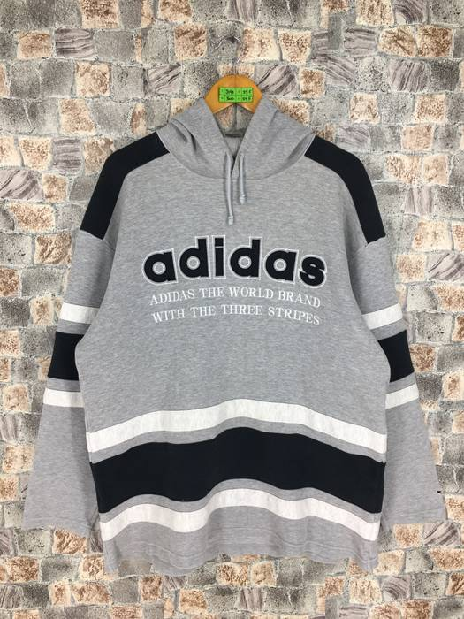 Adidas ADIDAS Run Dmc Pullover Hoodie Large Vintage 80s Adidas Colorblock  Big Logo Jumper Hip Hop 2e5618bd3