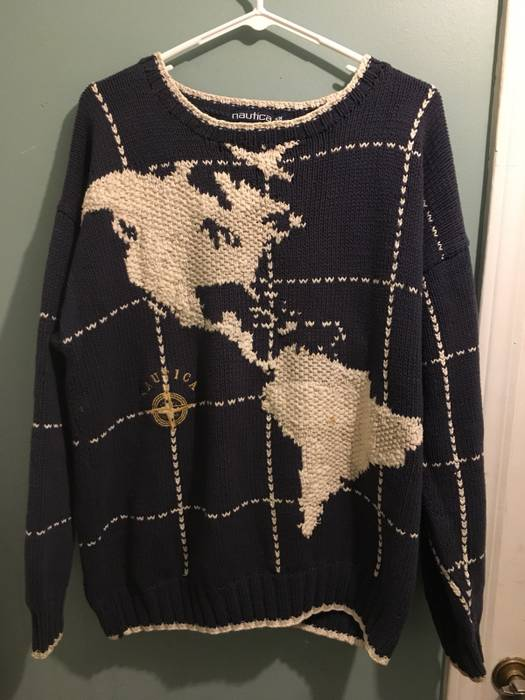 World Map Sweater.Vintage Vintage Nautica World Map Sweater Size M Sweaters
